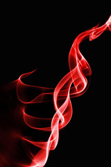 red smoke, black background