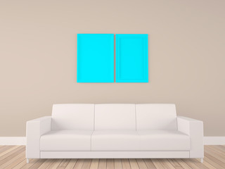 empty frame in room with sofa
