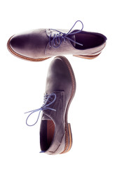 Male brown leather shoes on white background, with clipping path