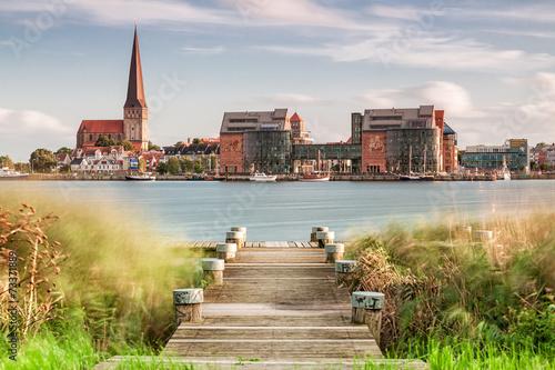 Leinwanddruck Bild Blick auf Rostock
