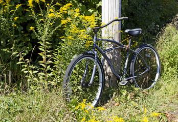 Old bike against telephone pole