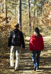 Couple on forest trail