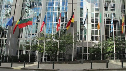 European Union members flags, Parliament headquarters building