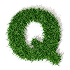 Q Lettera erba verde, isolata su sfondo bianco