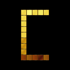 Vector illustration of shiny gold letter - C