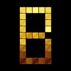 Vector illustration of shiny gold letter - B