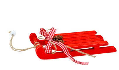 Christmas background - sleigh isolated on white