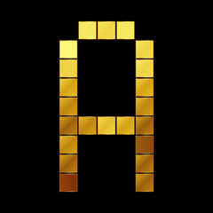 Vector illustration of shiny gold letter - A