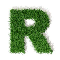 R Lettera erba verde, isolata su sfondo bianco
