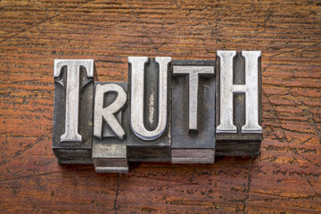 truth word in metal type