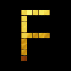 Vector illustration of shiny gold letter - F