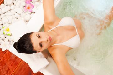 Relaxing in bath.