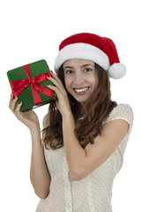Attractive christmas woman with a gift box