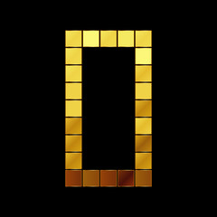 Vector illustration of shiny gold letter - D