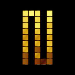 Vector illustration of shiny gold letter - N