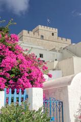 Greek flag on a tower - Santorini island Greece