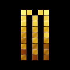 Vector illustration of shiny gold letter - M