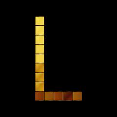 Vector illustration of shiny gold letter - L