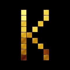 Vector illustration of shiny gold letter - K