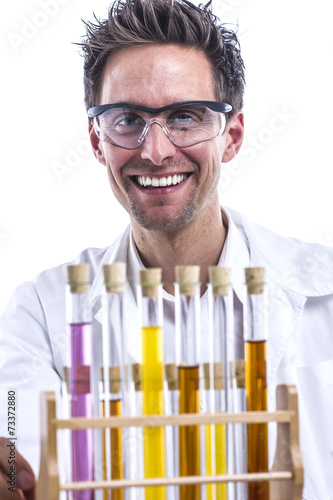 canvas print picture Chemiker im Labor
