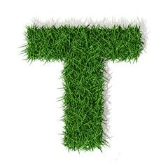 T Lettera erba verde, isolata su sfondo bianco
