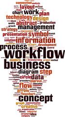 Workflow word cloud concept. Vector illustration