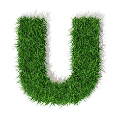 U Lettera erba verde, isolata su sfondo bianco