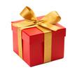 Leinwanddruck Bild - Geschenk mit goldener Schleife