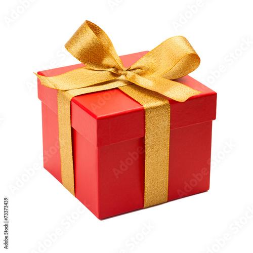 Leinwanddruck Bild Geschenk mit goldener Schleife