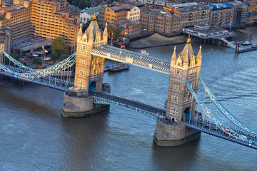 Aerial view over London historic landmark Tower Bridge at sunset