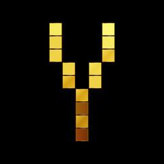 Vector illustration of shiny gold letter - Y