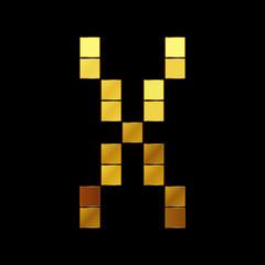 Vector illustration of shiny gold letter - X