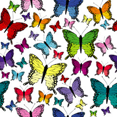 Colorful seamless with butterflies