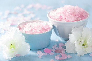 spa aromatherapy set with azalea flowers and herbal salt