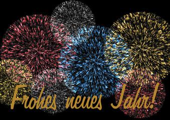 Feuerwerk mit Schriftzug Frohes neues Jahr auf schwarz
