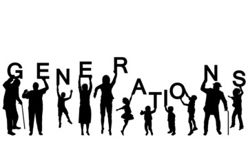 People silhouettes of different ages holding the letters of the