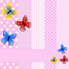 Verschiedene Muster in rosa mit Schmetterlingen