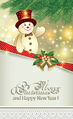 Merry christmas card with snowman under the branches of spruce