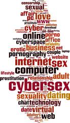 Cybersex word cloud concept. Vector illustration