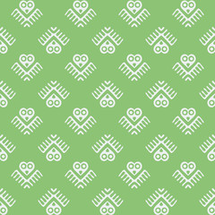 vector seamless pattern with owl, birds