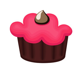 Cup Cake with Chocolate Cream