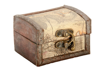 Wood Trinket Box with Leather Covering and Brass Clasp