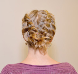 "Female hairdress ""The French braid"", rear view"