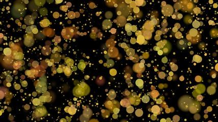 bokeh, golden circles on black background