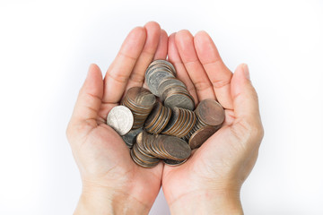 Handful of coins holding in person palm