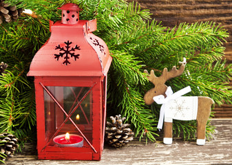 Christmas Lantern with Fir Tree Branches and Reindeer Wooden Dec