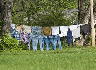 Clothes Drying Outdoors On Clothes Line