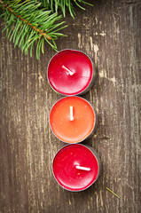 Christmas Candles Decoration and Fir Tree