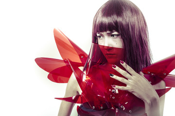 Innovation Cyborg, sensual future woman in red armor, science fi