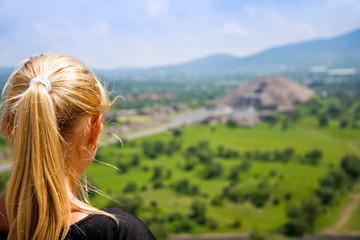 woman looking far away distance